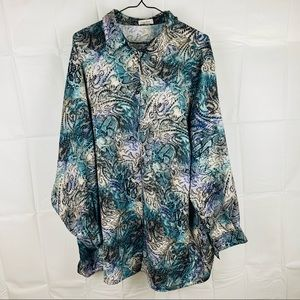 atelier Multicolored LS Button Up Top Size XXL